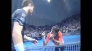 Tommy Robredo swearing at Murray after losing to him