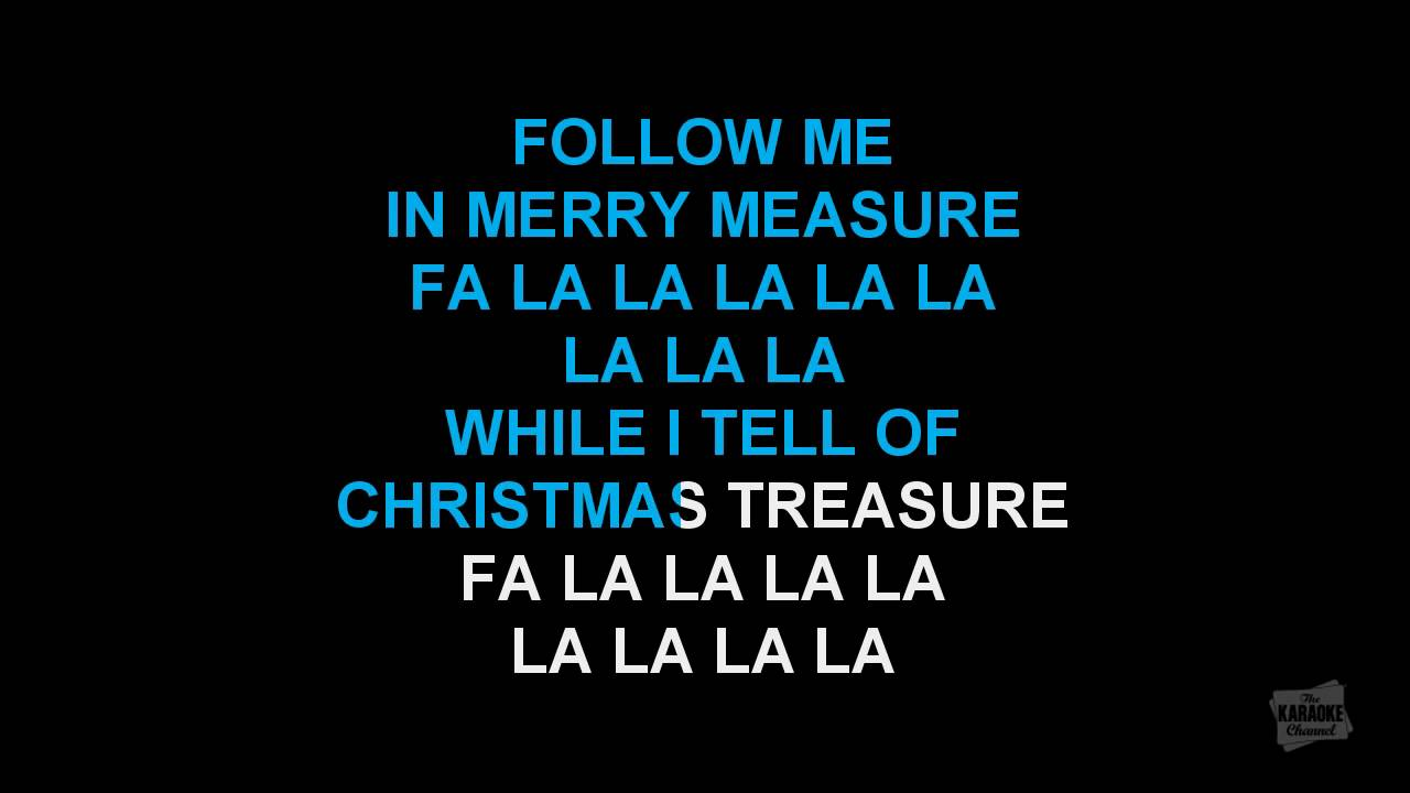 deck the halls in the style of traditional karaoke video with lyrics