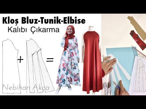 Ana Kalıptan Kloş Elbise-Tunik-Bluz Kalıbı Çıkarma