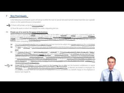 ACCA F6 Preparing the Capital Allowance Computation, Non Pool Assets