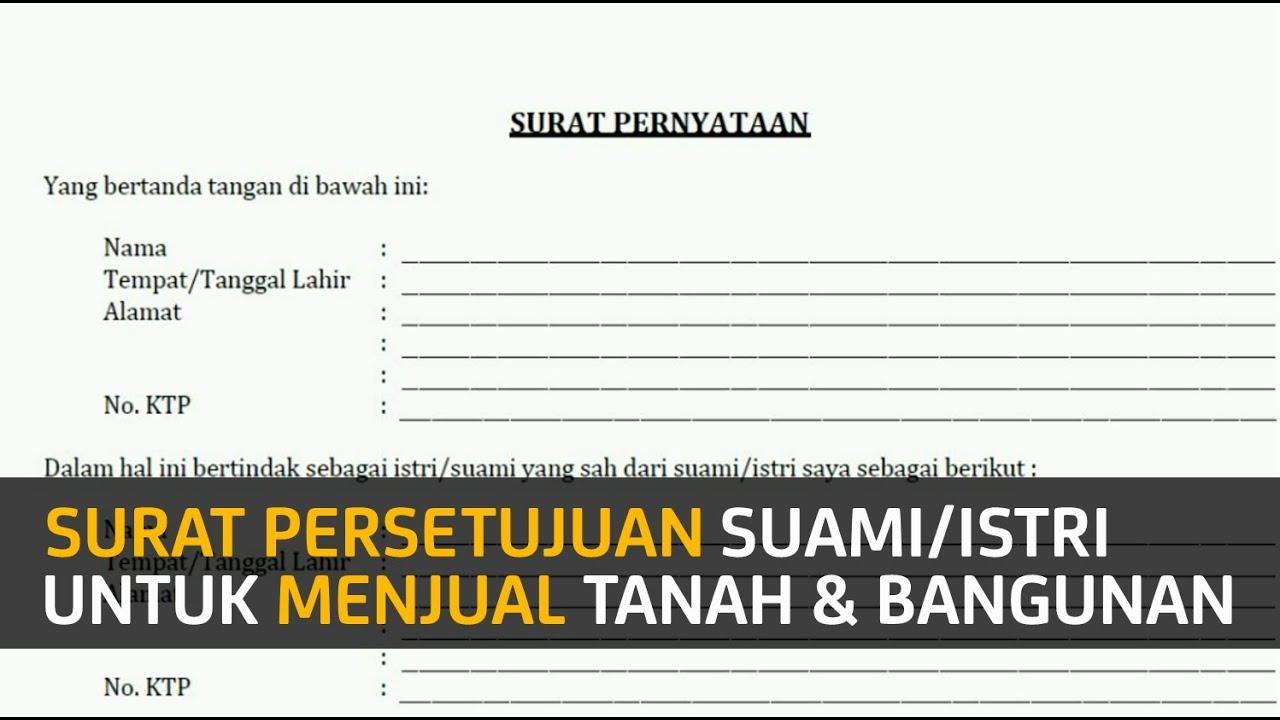 Contoh Surat Pernyataan Pemberian Izin Suamiistri Untuk Menjual