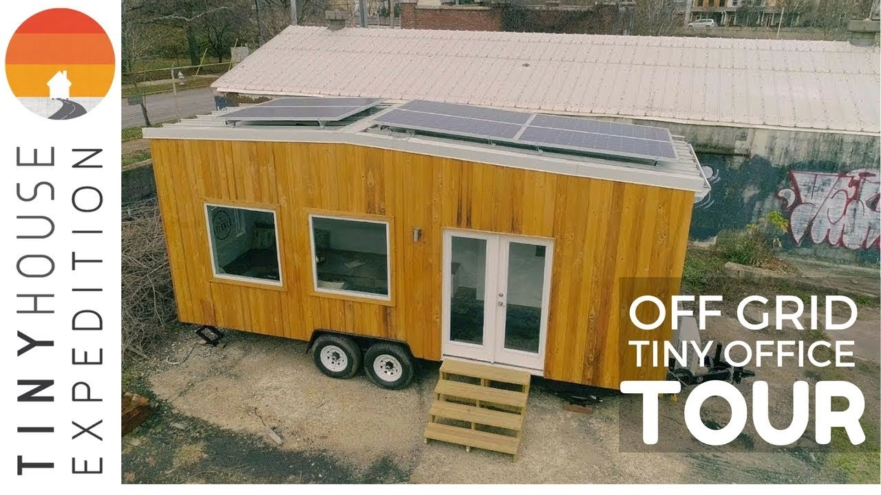 Tiny House Tour: Off Grid Tiny Office //Featuring Tesla Powerwall