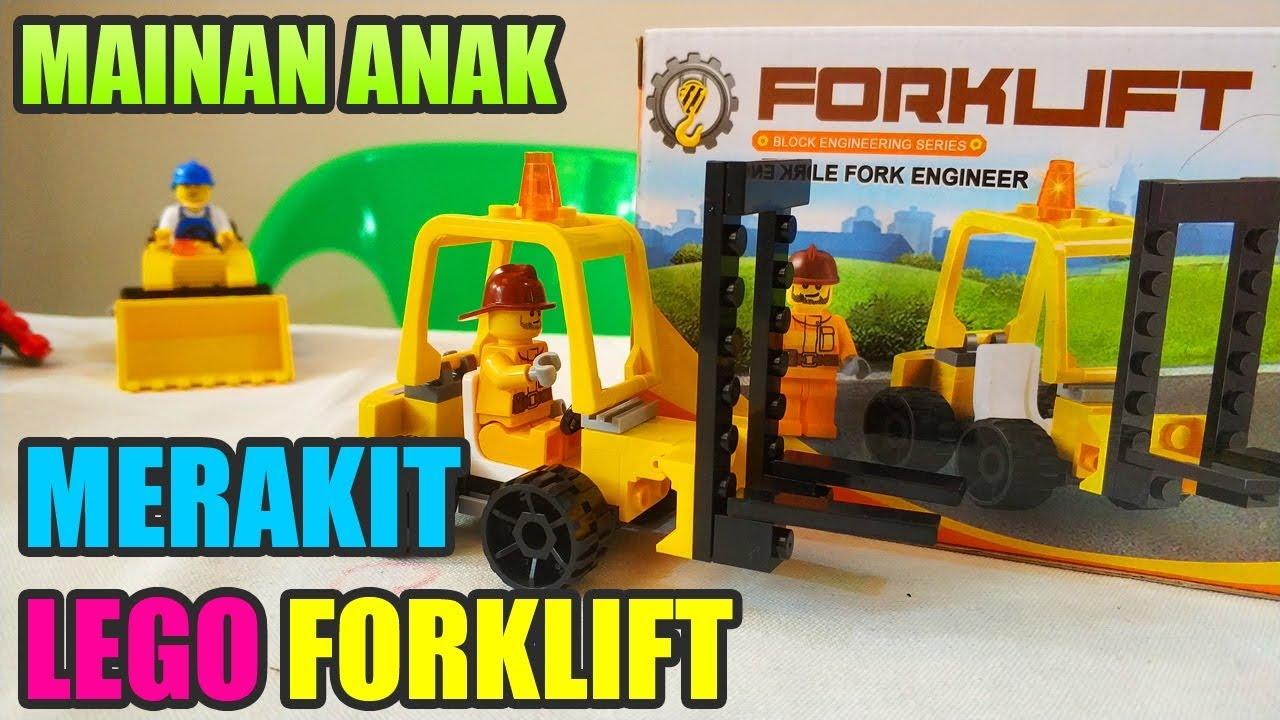 Mainan Anak FORKLIFT Double Fork Engineer • Lego Forklift Truck Speed Build