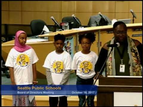 Part 1 Seattle School Board Meeting Oct. 18, 2017
