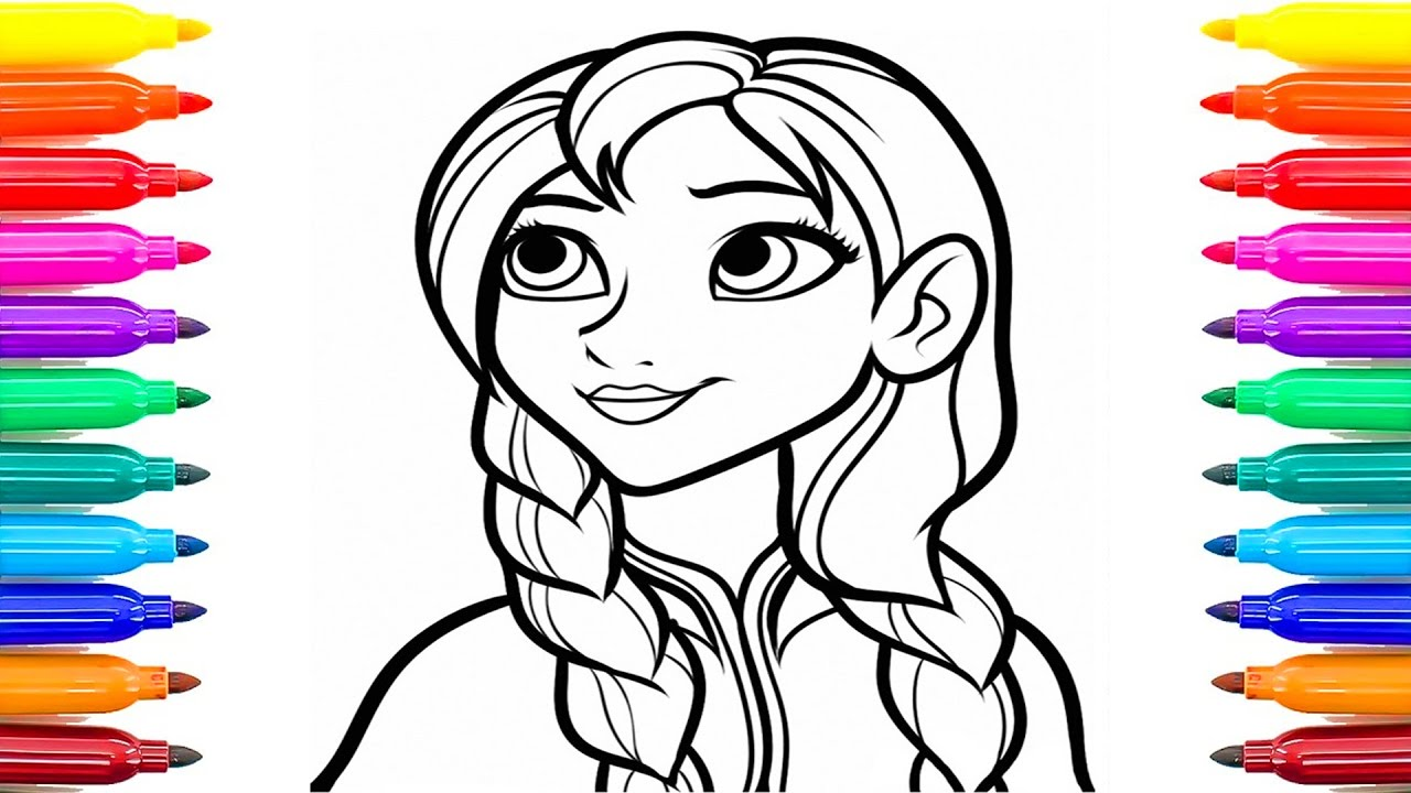 Coloring Pages Frozen Anna Lips Makeup Hair Weave Videos For Children With Colored Markers