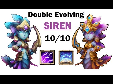 Double Evolving SIREN GAMEPLAY Max Skill Revitalize 5 Devo Archdemon Hero Castle Clash