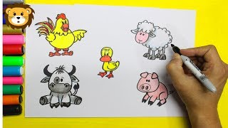 Como Dibujar animales de la granja - Dibujos para niños - Draw and Coloring Book for Kids