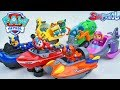PAW PATROL SEA RESCUE VEHICLES IN A POOL ADVENTURE BAY CHASE SKY ROCKY ZUMA RUBBLE MARSHALL