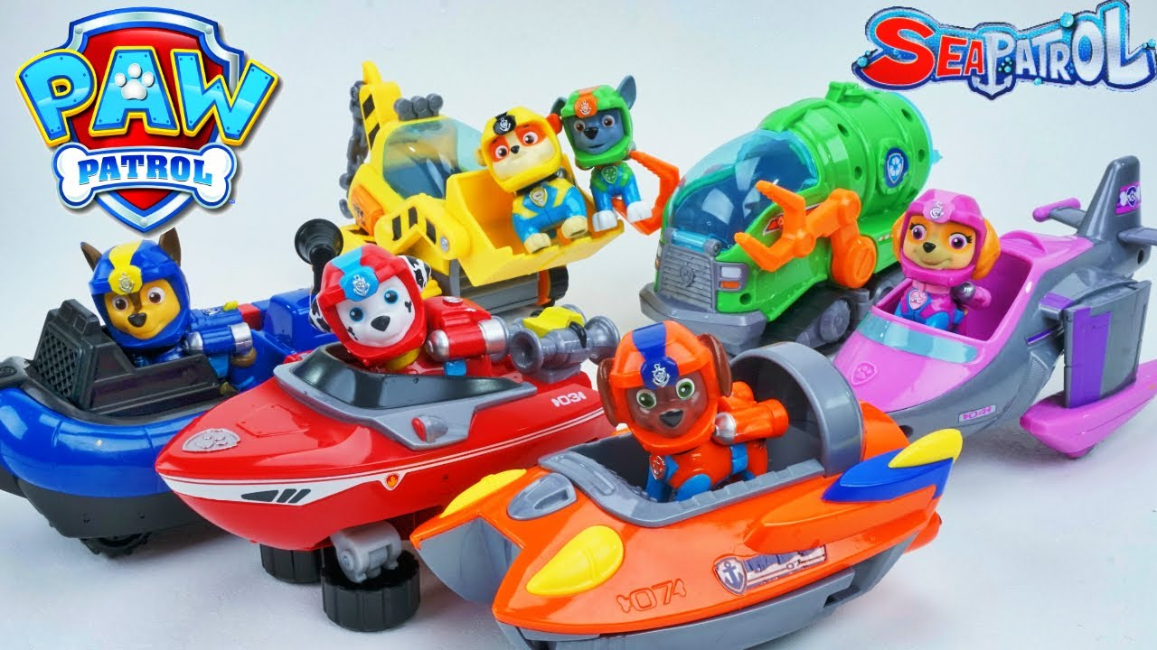 Paw patrol sea rescue vehicles in a pool adventure bay chase sky rocky zuma rubble marshall - The sky pool a deluxe adventure ...