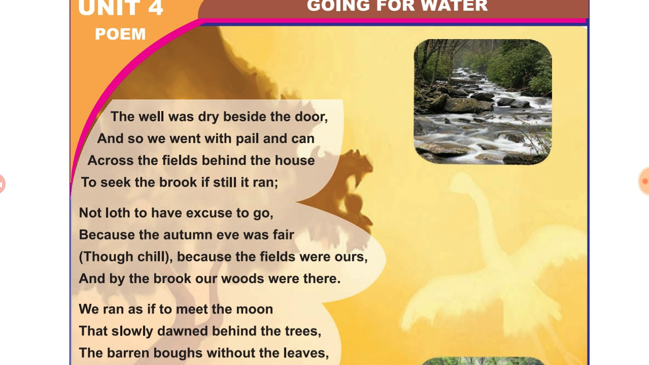 Going or Water - 10th Memory Poem , TNPSC general english