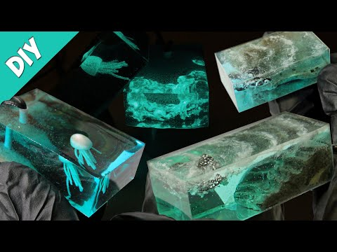 DIY. Sea Pendant made of Epoxy resin & Concrete.Ocean Necklace.Epoxy resin art / Wisiorek z żywicy.