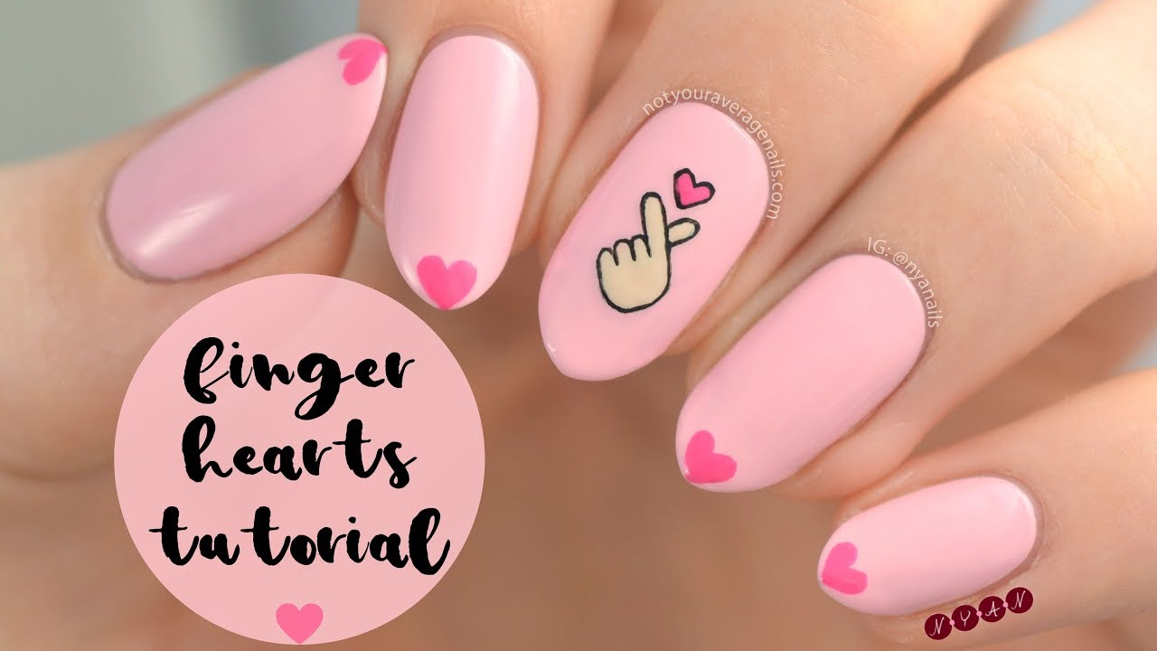 Finger Hearts Nail Art Tutorial - Finger Hearts Nail Art Tutorial - YouTube