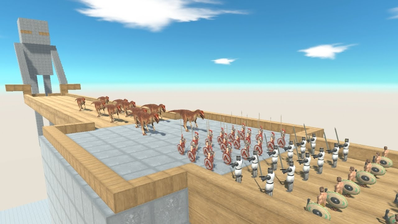 ALLOSAURUS Army on Enderman's Bridge vs Faction Army from ALL UNITS Animal Revolt Battle Simulator
