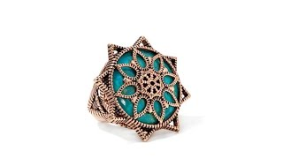 "Studio Barse Turquoise and Copper Overlay ""Sun"" Ring"