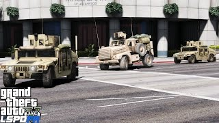 LSPDFR Police Mod 442 | Military Patrol | 3 Humvee's Escorting An Armored Military Personnel Carrier