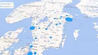 Sveriges största städer, 3D-karta.