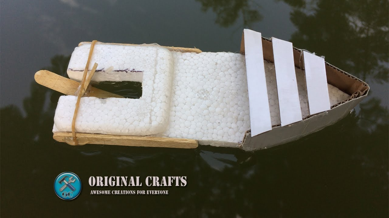 How To Make A Self Propelled Boat With Rubber Band Youtube