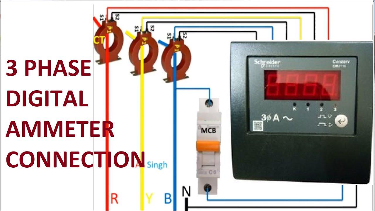 3 phase digital ammeter wiring diagram3 phase digital ammeter connection  digital ammeter