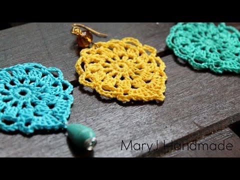 Nice and easy crochet earrings   Aqua
