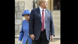 Trump meets the Queen breaks protocol, fails to bow, walks in front blocks her and keeps her waiting