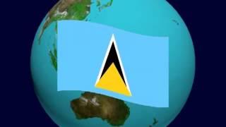 Saint Lucia Flag on the Earth
