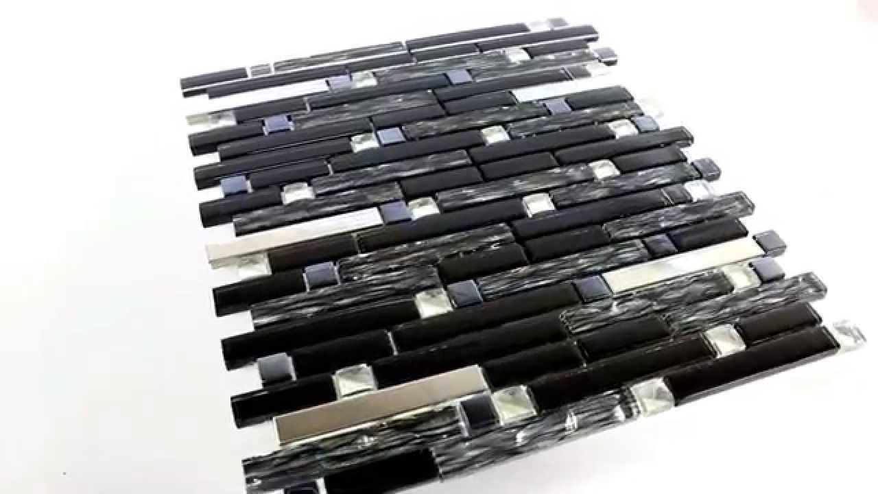 edelstahl metall glas mosaik fliesen diamant schwarz mix youtube. Black Bedroom Furniture Sets. Home Design Ideas