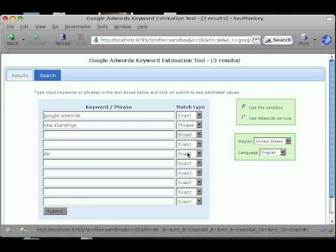 WSGI Adwords Keyword Tool - Tabbed interface plus location and language targets