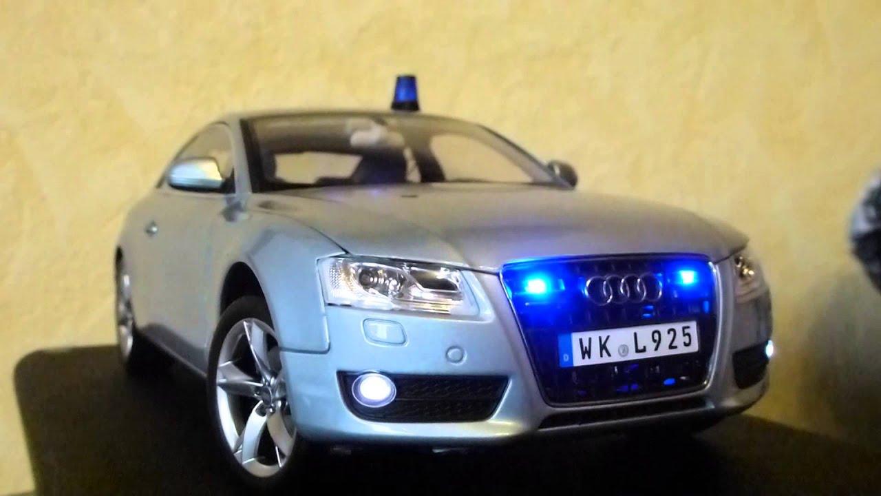audi a5 modellauto 1 18 led beleuchtung polizei teil. Black Bedroom Furniture Sets. Home Design Ideas