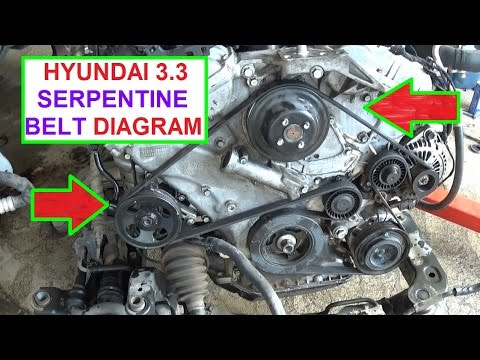 Serpentine Belt Replacement and Diargam on Hyundai 3.3 Engine Hyundai Sonata Santa Fe Azera Sorento