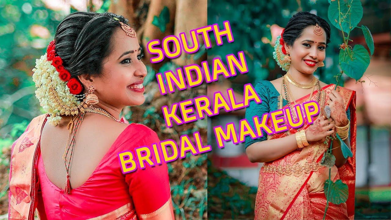 Hindu Bridal Makeup look | South Indian Kerala Hairstyle & Saree draping | Affordable Bridal Makeup