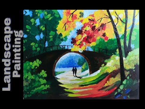 Beautiful landscape acrylic painting | bridge over the creek painting