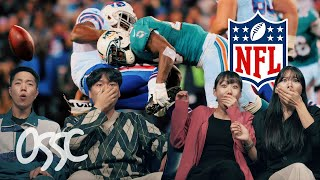 Koreans React To 'The Toughest NFL Hits' For The First Time