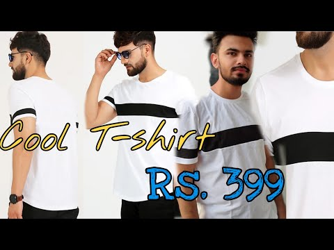 Aelomart Color Block Men Round Neck White, Black T-Shirt    Low price T-Shirt    Cool t-shirts Rs399