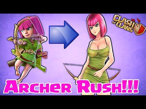 Clash Of Clans - ARCHER RUSH!! (Mass Archer raids)