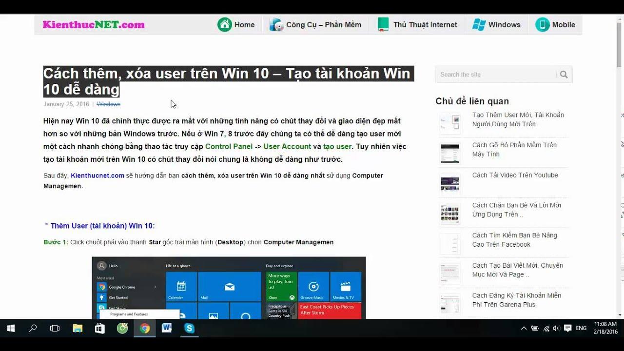 Hướng dẫn thêm, xóa User trên Win 10