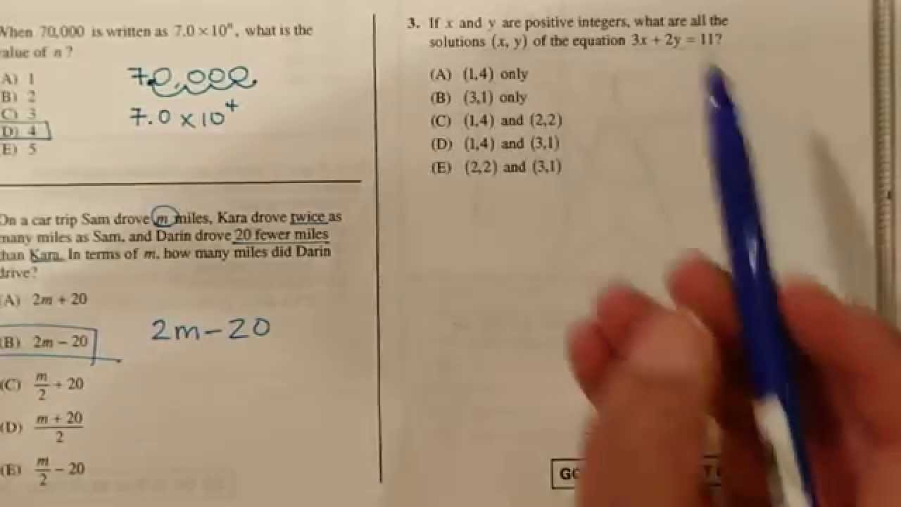 worksheet Sat Math Worksheets sat math practice test section 2 1 to 3 youtube