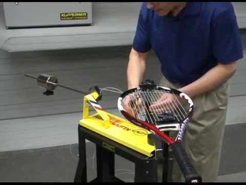 Stringing a racquet on the Klippermate Racquet Stringing Machine