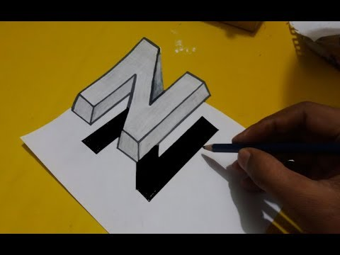 Easy Arts - How to draw 3D Art Letter N on the Paper for kids