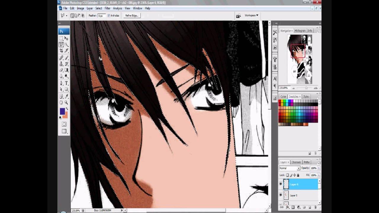 Photoshop manga coloring - YouTube