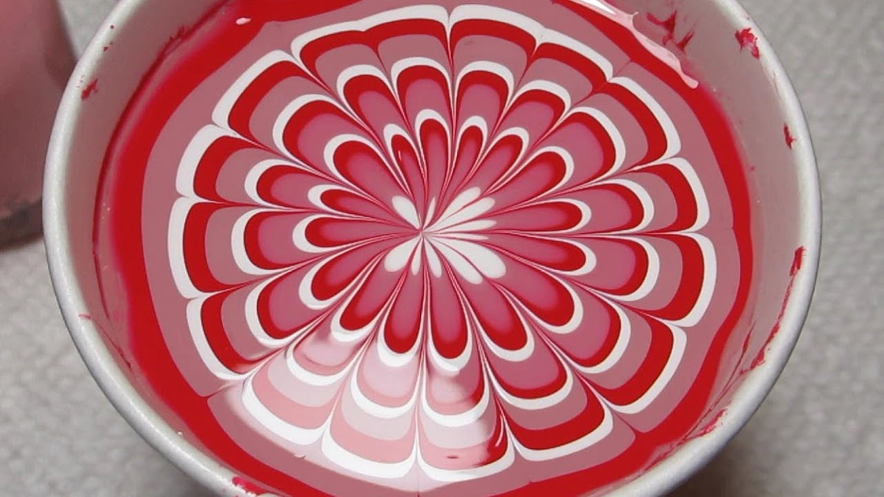 red pink & white water marble