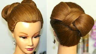 Hairstyle for  long hair. Hair bow tutorial.