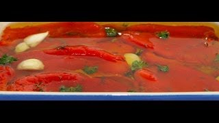 Roasted Red Pepper In Olive Oil - Red Pepper Salad - Antipasto Garnish - Online Cooking Classes