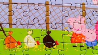 Пеппа и Джордж кормят цыплят - Пазлы для детей Свинка Пеппа   Merry Nika