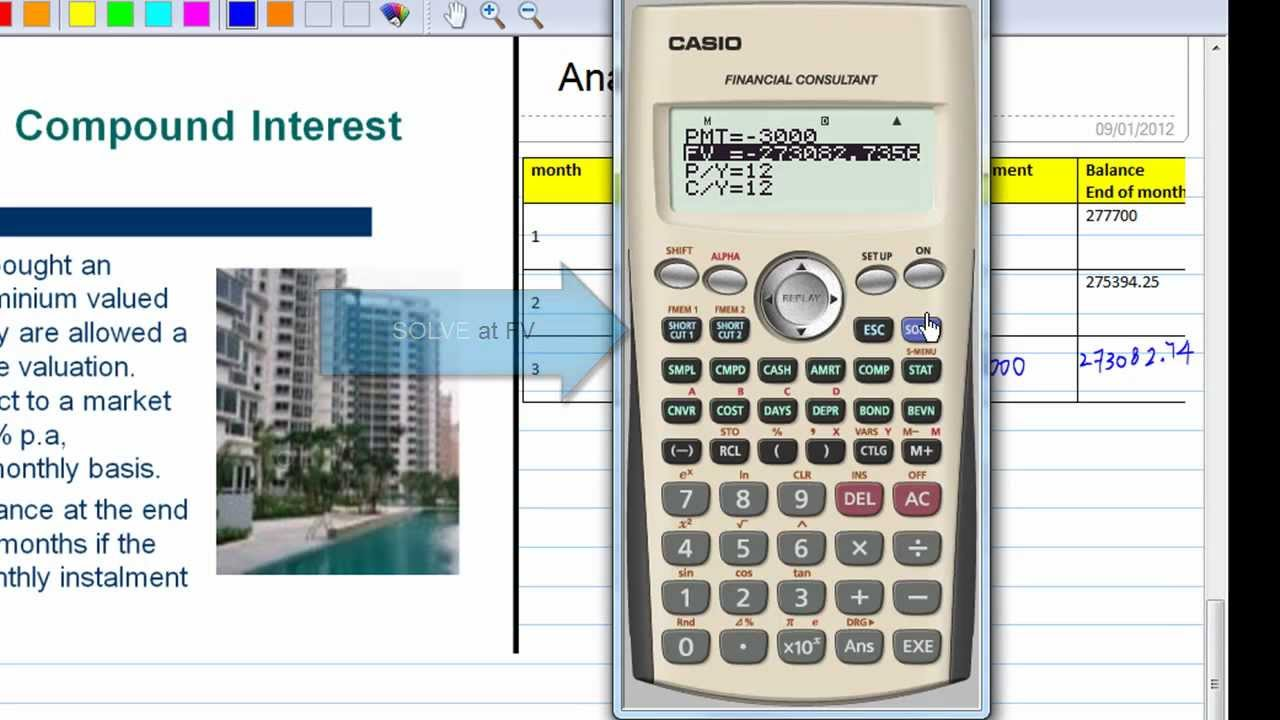 compound interest with casio financial calculator youtube