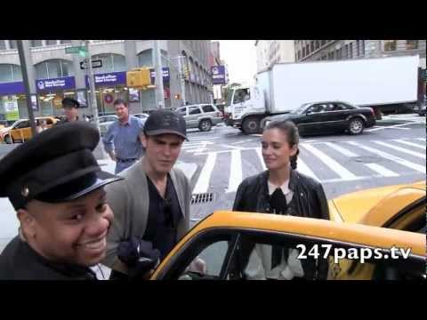 Torrey DeVitto and Paul Wesley coming in and out of there Soho Hotel in New York