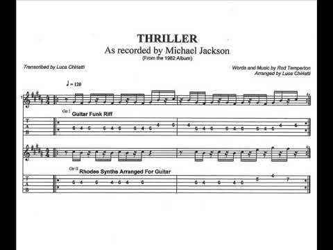 Thriller Guitar Riff Michael Jackson Original Griff By David