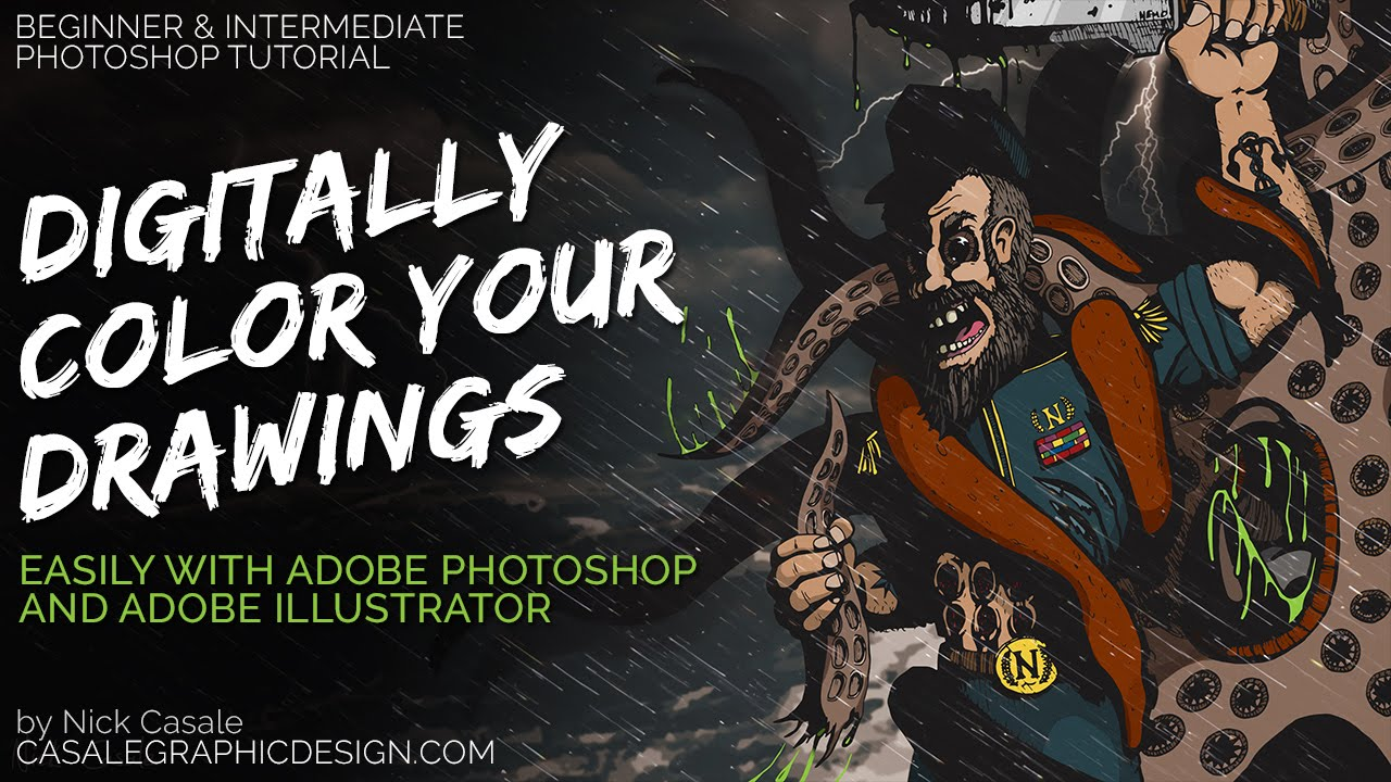 How to color your art in photoshop - How To Digitally Color Your Drawings Comics 1080p Photoshop Tutorial