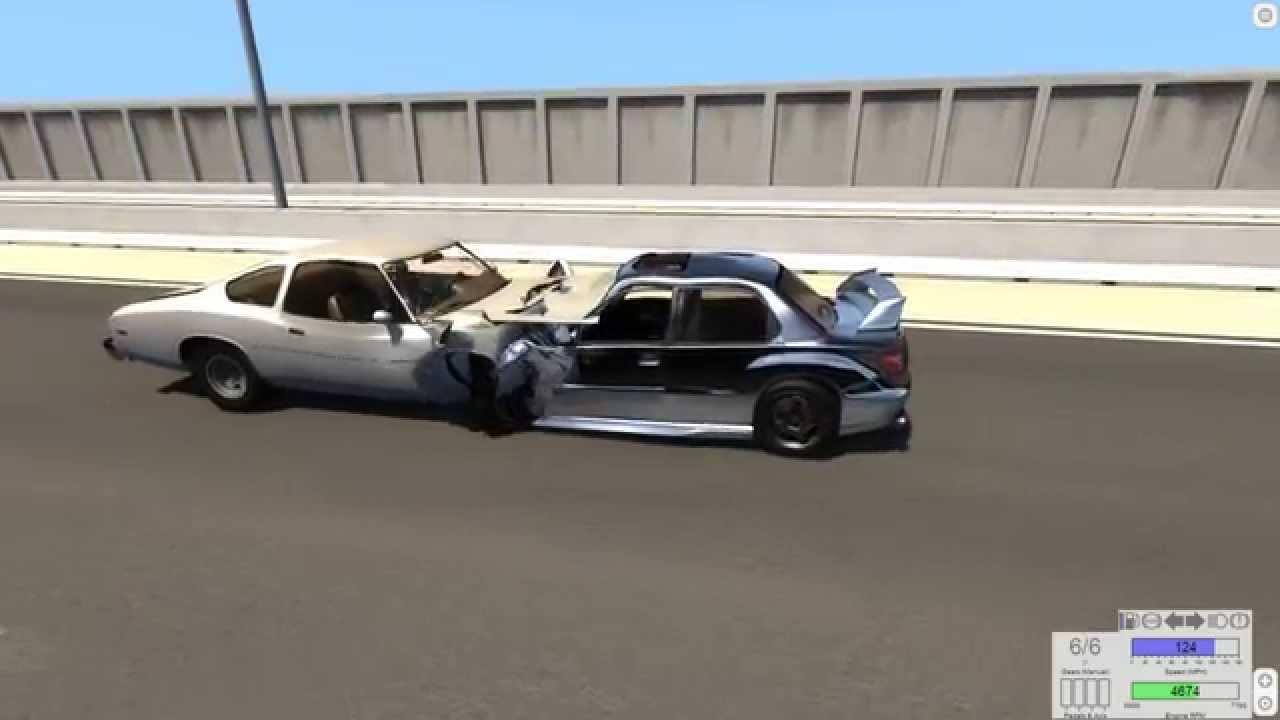 BeamNG drive Old car V new Car Head on motorway crash test - YouTube