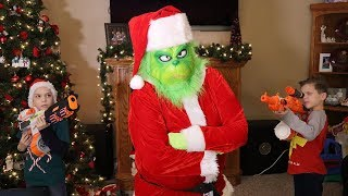 Nerf War : The Grinch Stole Our Presents!  (Escape the Room)