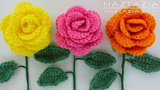 DIY Learn How to Crochet a Beginner Easy Flower - Rose Bouquet Flowers Leaf Leaves Stem